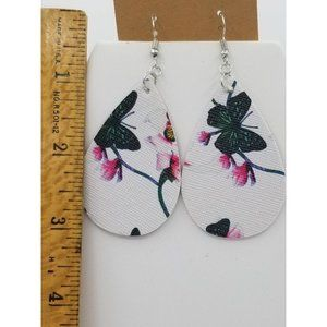 White faux leather butterfly earrings